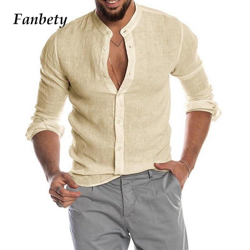 Men's Casual Cotton Linen Solid Shirts Autumn Summer Long Sleeve Button Shirt Tops Stand Handsome Men Shirt Camisas Masculina