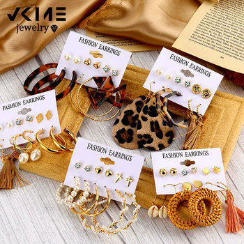 VKME Bohemian Tassel Earrings For Women Vintage Shell Pearl Drop Set Rattan Dangle Earring 2020 Brincos Acrylic Jewelry