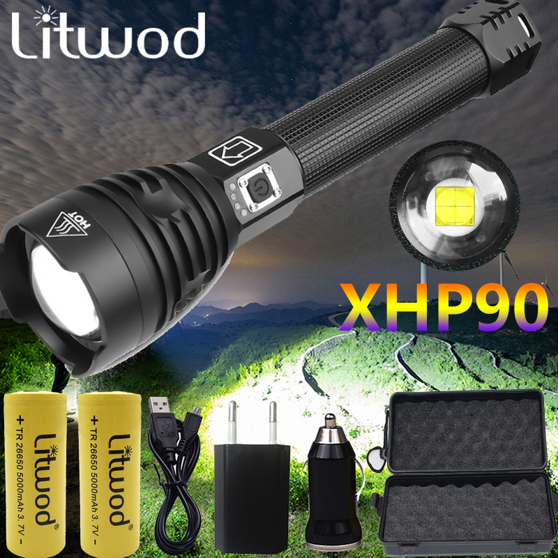 Drop Shipping Brightest XHP90 Rechargeable LED Flashlight Powerful Torch Super Waterproof Zoom Hunting Light Use 18650 Or 26650