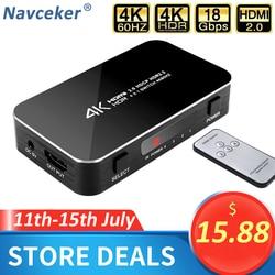 Przełącznik Mini 4 Port 4x1 HDMI Ultra HD 4K @ 60Hz HDMI 2.0 HDCP 2.2 pudełko przełącznika 4 w 1 z kontrolą IR dla PS4 Apple TV HDTV