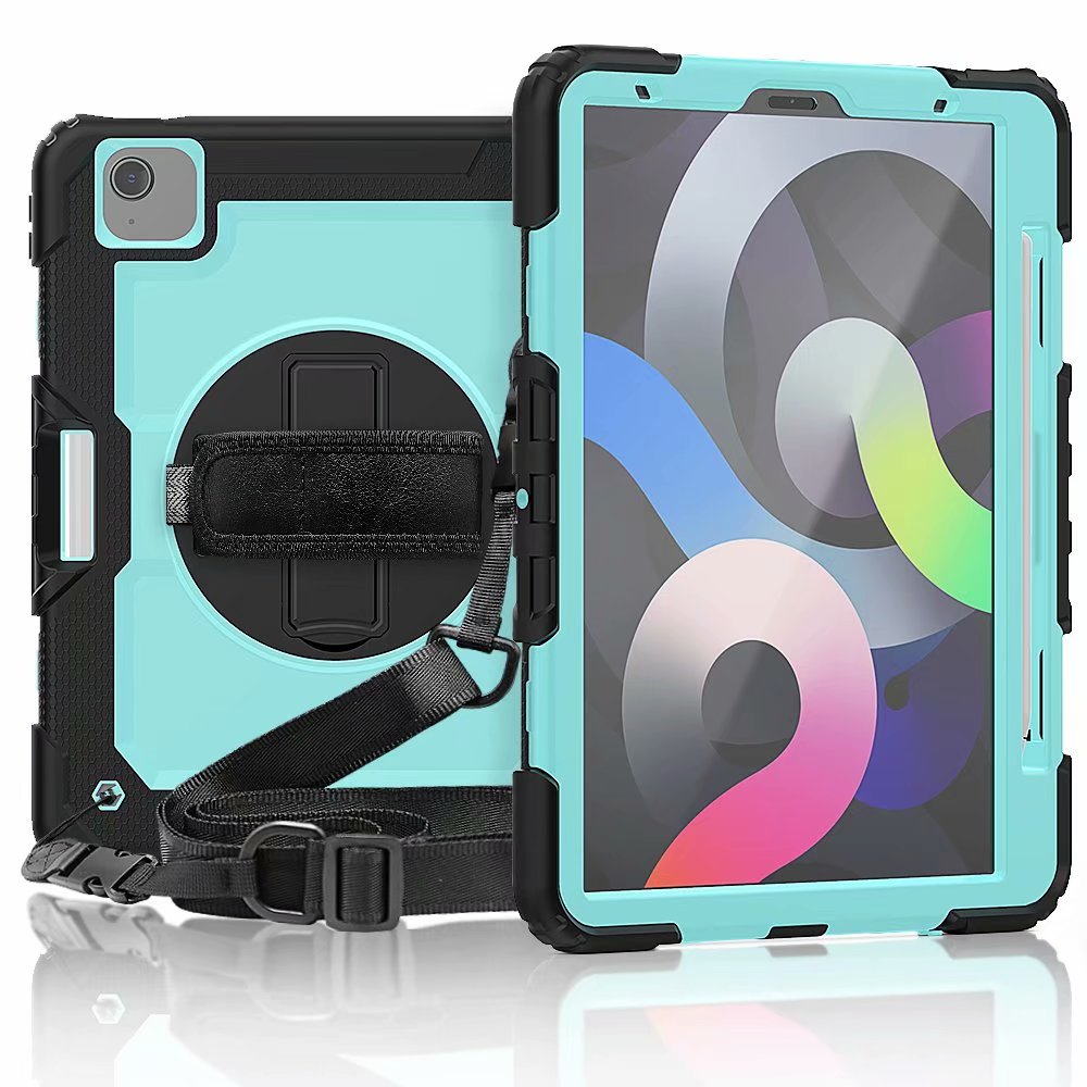 5 Black For iPad Air 4th Generation Case with Screen Protective Film Heavy Duty Silicone Kickstand Case Cover