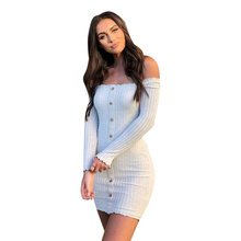 New Bandage Dress Women Dresses Autumn Womens One-shoulder Long-sleeved Woman Party Night Boho Clothes