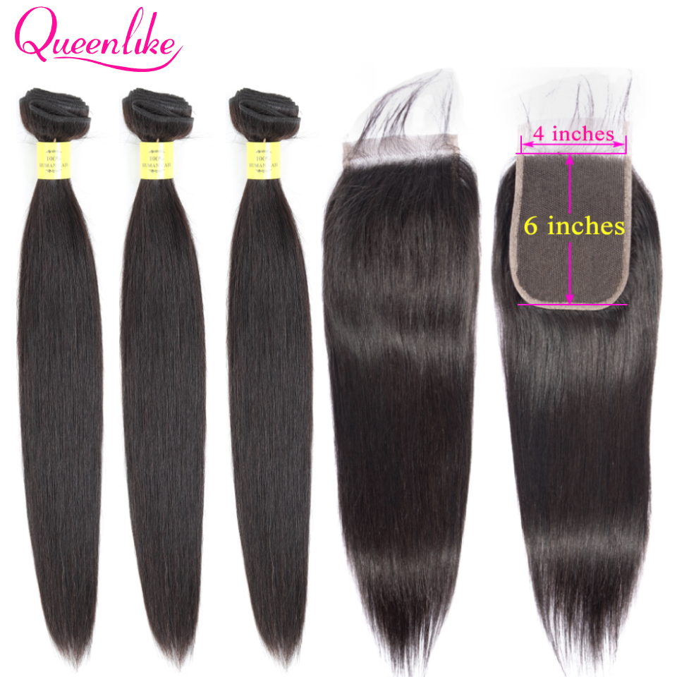 Brazilian Straight Hair 3 Bundles With 4x6 Closure Queenlike Double Weft Non Remy Human Hair Bundles With Kim K Lace Closure