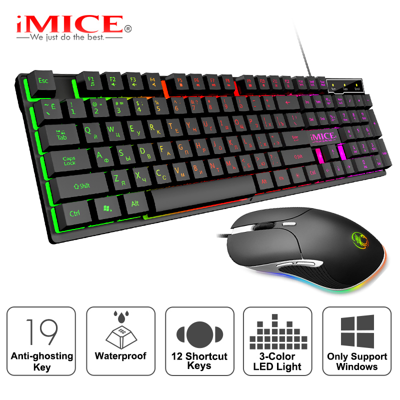 Gaming Keyboard And Mouse Wired Gamer Keyboard With Backlight 6400DPI Wired Mouse Ergonomic Computer Mouse With Cable For Laptop