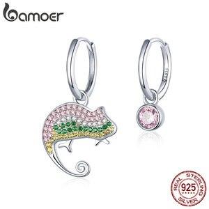 bamoer Protect Animal Chamaeleon Asymmetry Dangle Earrings Zircon 925 Sterling Silver Luxury Engagement Fine Jewelry BSE368