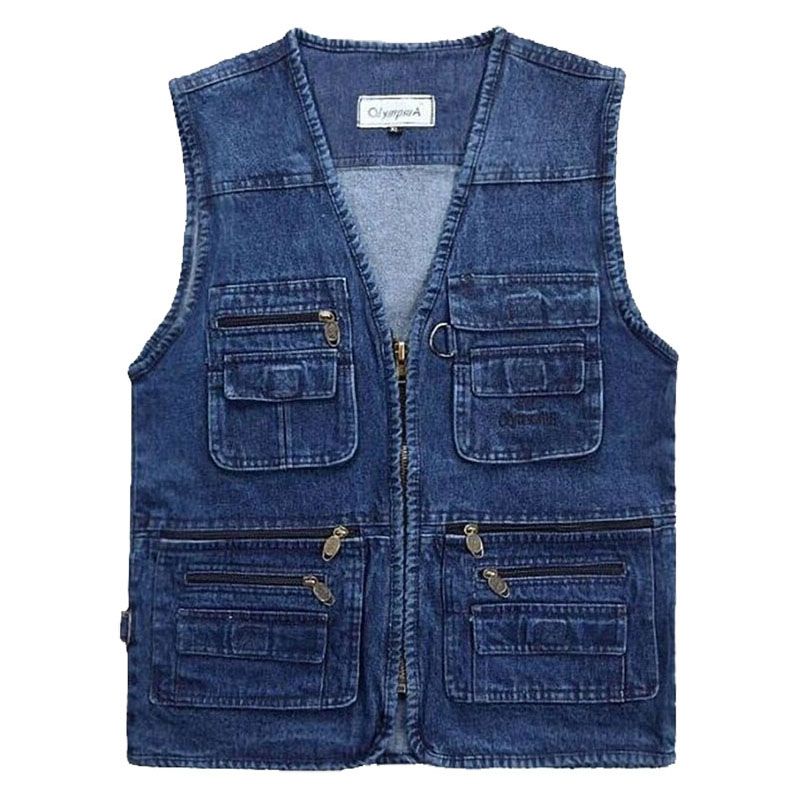 2019 Big Size V-Neck Classic Multi Denim Work Vest Mens Solid Casual Waistcoat With Many Pockets Fishing Vest Sleeveless Jacket