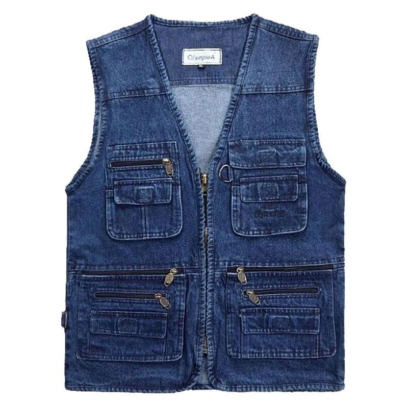 2019 Big Size V-Neck Classic Multi Denim Work Vest Mens Solid Casual Waistcoat with Many Pockets Fishing Vest Sleeveless Jacket
