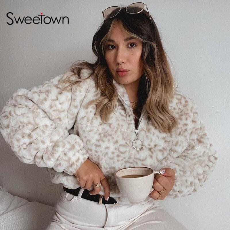 Sweetown Winter Dicke Warme Leopard Teddy Mäntel Weibliche Mantel Hohe Qualität Pullover Outwear Pelz Trim Kragen Faux Pelz Jacken
