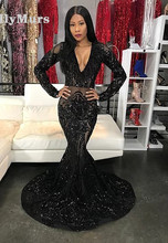 цена на Sexy Black Girls Mermaid High Neck Dusty Prom Dresses 2019 Cut-out Top Beaded Long Formal Evening Party Gowns