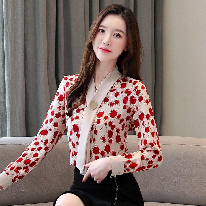 Korean Women Blouses Woman Chiffon Blouse Women Shirts Elegant Woman Dot Shirt Plus Size Women V Neck Shirt Blusas Mujer De Moda