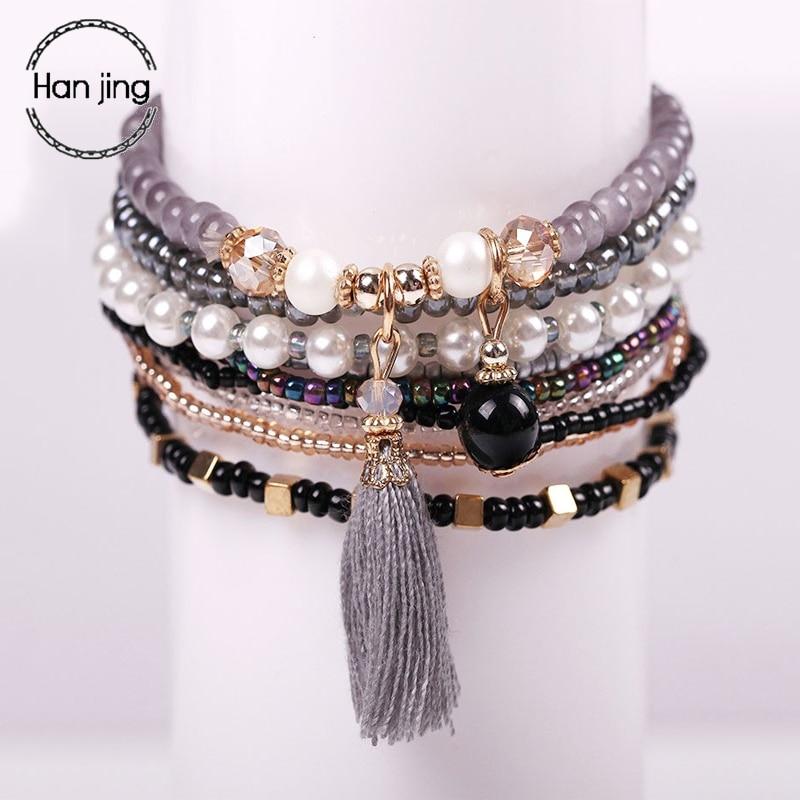 Богемные браслеты дружбы и браслеты для женщин в стиле бохо бриллиантовый браслет с подвесками женские браслеты женские ювелирные изделия ...
