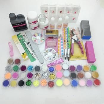 Professionals Acrylic Nail set 120ML Liquid 42 Color Powder Glitter Clipper Primer File Nail Art Tips Tool Brush Tools Set Kit