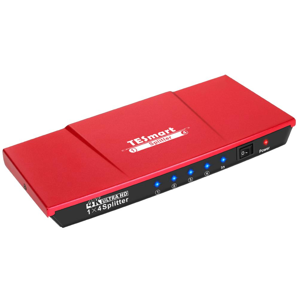 The Colorful Top Quality Ultra HD 4K HDMI Switch HDMI Splitter 1x4 With Power Adapter HDTV DVD Xbox 360 One PS3 PS4