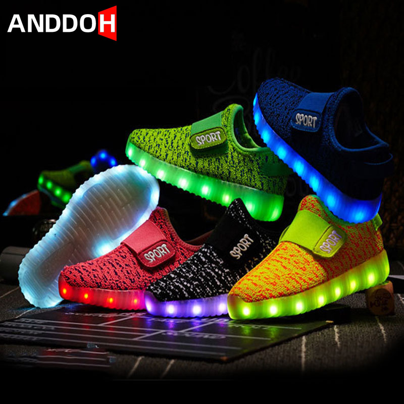 Children's LED Shoes USB Charging Luminous Sneakers Boys Girls Glowing Sneakers Kid Hook Loop Krasovki With Backlight Up Shoes