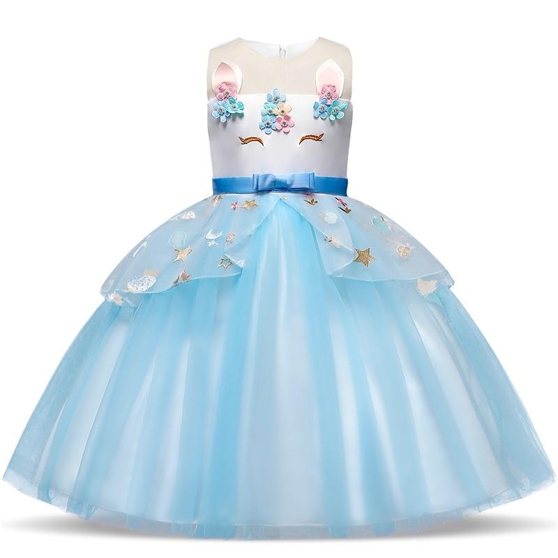 ユニコーン子供夜会服の花幼児の少女夏ドレス6 7 8年王女の誕生日パーティードレス子供服