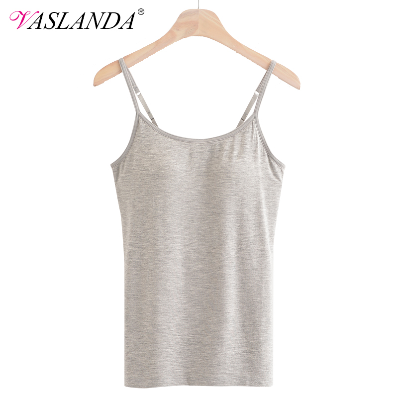 VASLANDA Camisole Tank Tops Padded Bra Summer Top Mujer Spaghetti Strap Sleeveless Cropped Women Casual Shirts Seamless Croptop in Camis from Women 39 s Clothing