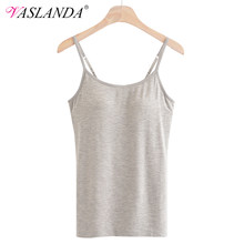 VASLANDA Camisole Tank Tops Padded Bra Summer Top Mujer Spaghetti Strap Sleeveless Cropped Women Casual Shirts Seamless Croptop(China)