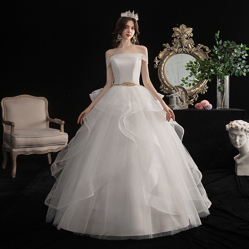 Do Dower Sexy Boat Neck 2020 New Wedding Dress Off White Floor Length Simple Plus Size Princess Ball Gown Robe De Mariee L