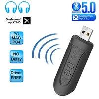 CSR8675 aptX HD/LL USB 블루투스 5.0 어댑터 PC 3.5mm 3.5 AUX 무선 오디오 송신기 PS4 TV 데스크탑 노트북 두 링크, CSR8675