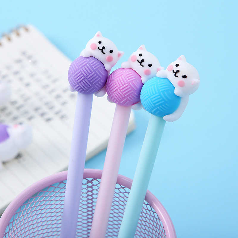 1 Piecce Lytwtw's Cute Creative Cat 0.5mm Gel Pens Cartoon Kawaii Stationery Office School Supplies Kids Gifts