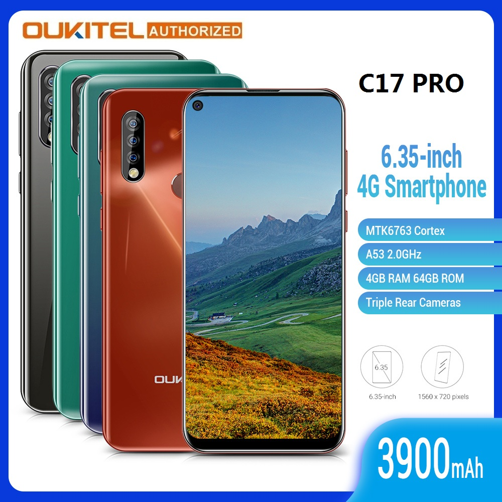 OUKITEL C17 Pro 6.35 Inch 4G Smartphone 4GB + 64GB MT6763 13MP Fingerprint Octa Core Android 9.0 Cellphone Mobile Phone 3900mAh