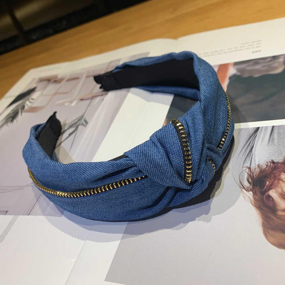 Fashion Blue Hairband For Women Winter Hair Accessories Denim Headband Metal Zipper Decoration Hair Band Turban For Adult
