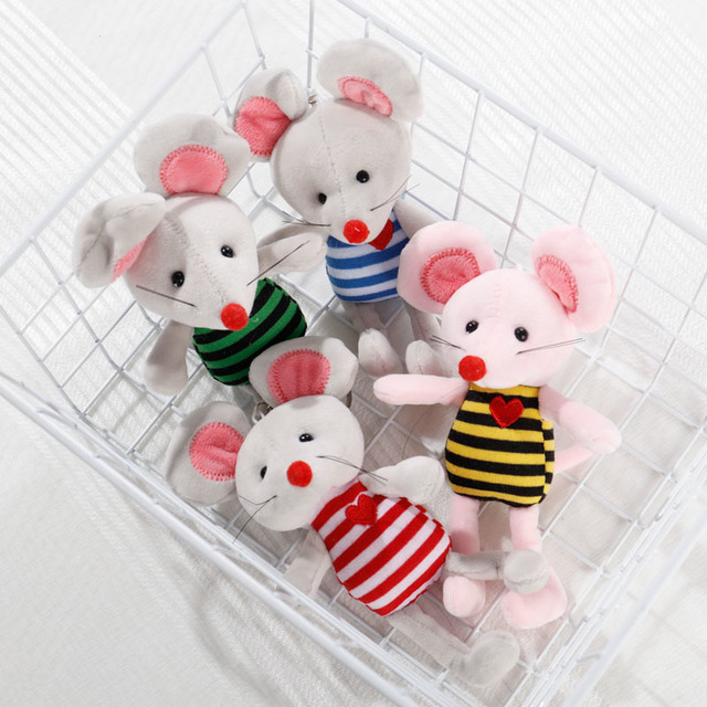 17CM Lovely Mouse Plush Keychain Doll Stuffed Plush Animal Toy High Quality Soft Baby Finger Toys For Children Home Deacoration