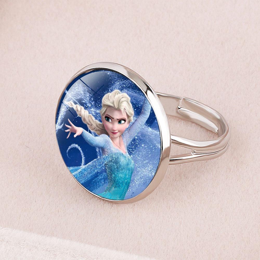 Disney Cartoon Frozen Princess Elsa Children's Ring Snow White Cinderella Jewelry  Doll Accessories Gifts For Girls