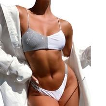 Sexy micro bikini mulher lantejoulas retalhos push up sutiã acolchoado tanga banho praia brasileira maiô biquini