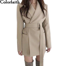 Colorfaith Neue 2019 Herbst Winter frauen Blazer Schärpen Jacken Kerb Oberbekleidung England Stil Solide Strickjacke Tops JK9715(China)