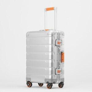 Image 1 - Neue 20/24 zoll retro alle aluminium magnesium legierung gepäck spinner tragen auf internat business trolley koffer mode koffer