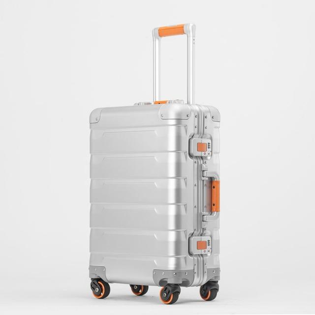 Neue 20/24 zoll retro alle aluminium magnesium legierung gepäck spinner tragen auf internat business trolley koffer mode koffer