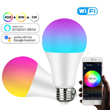 Smart Wifi LED Bulb E27 E26 RGBW Light Bulb Work With Alexa/Google home Dimmable/Timer Function Colorful LED Magic Music Bulb