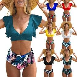 Belleziva цветочный гофрированный подол бикини набор женщин Флора v-образным вырезом с высокой талией из двух частей купальник пляж купальный к... 5