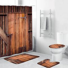 4 Piece Rustic Shower Curtain Sets with Non-Slip Rugs Toilet Lid Cover and Bath Mat Farmhouse Wooden Shower Curtain for Bathroom(China)