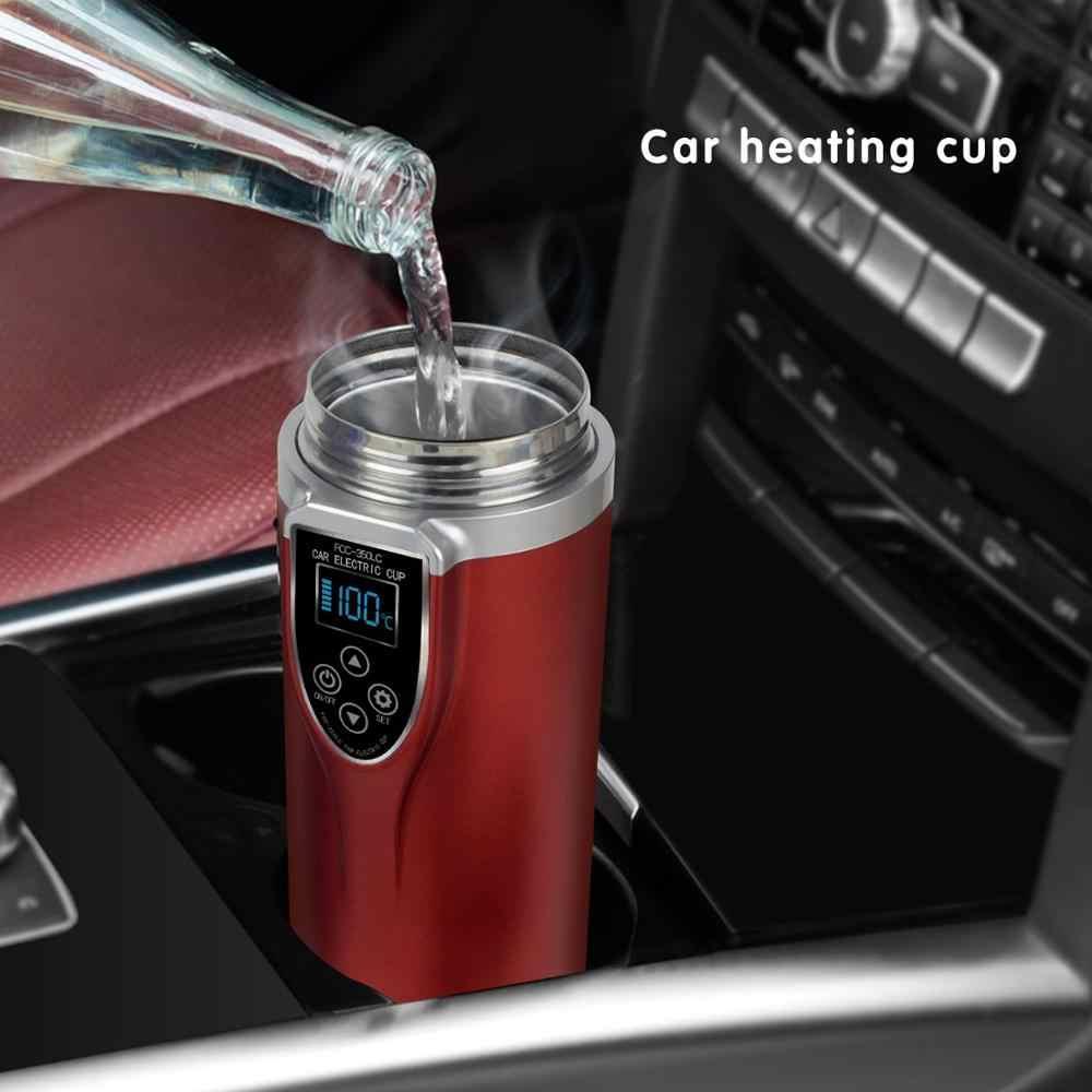 Hervidor de agua de 12V portátil de acero inoxidable, mini hervidor de viaje, calentador de agua para el coche, hervidor eléctrico, taza de coche, botella de agua térmica de 350ML