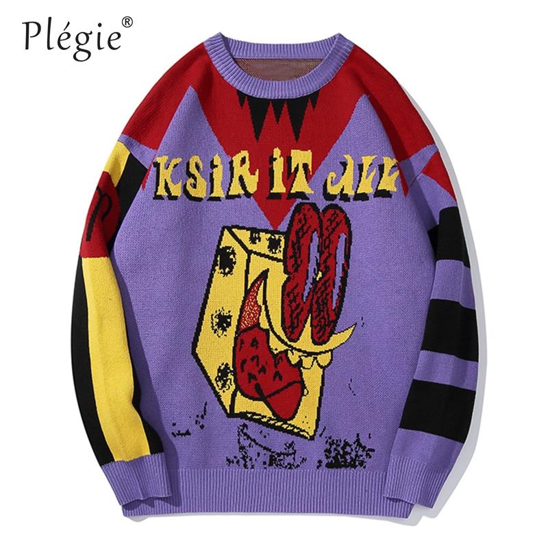 Plegie Color Block Patchwork Sweater Men Oversized Hip Hop Streetwear Sweater Autumn Cotton Unisex Long Sleeve Outwear Tops