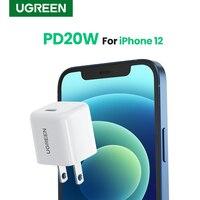 UGREEN-cargador rápido compacto de 20W para teléfono móvil, cargador de USB-C para iPhone Serie 12, PD 3,0