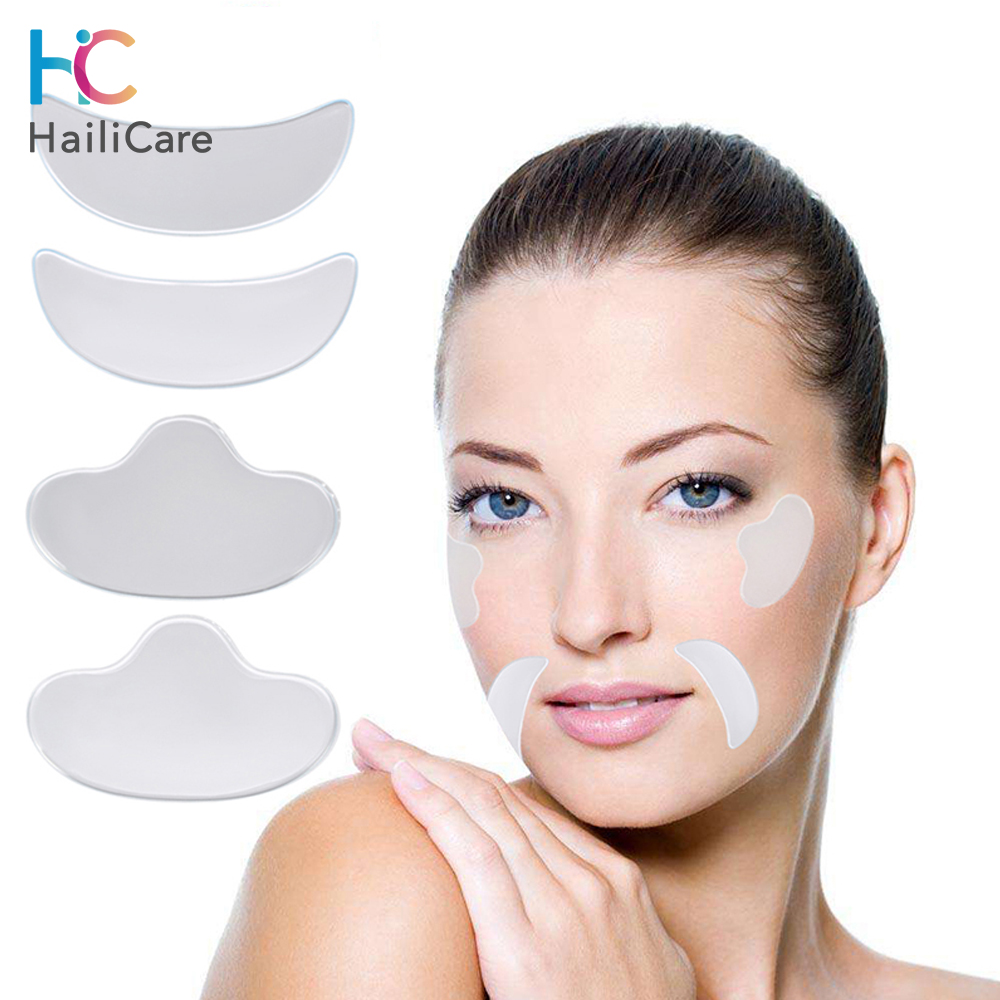 4Pcs Anti Wrinkle Eye Face Pad Reusable Medical Grade Silicone Invisible Chest Pad Anti-aging Eliminate And Prevent Face Wrinkle
