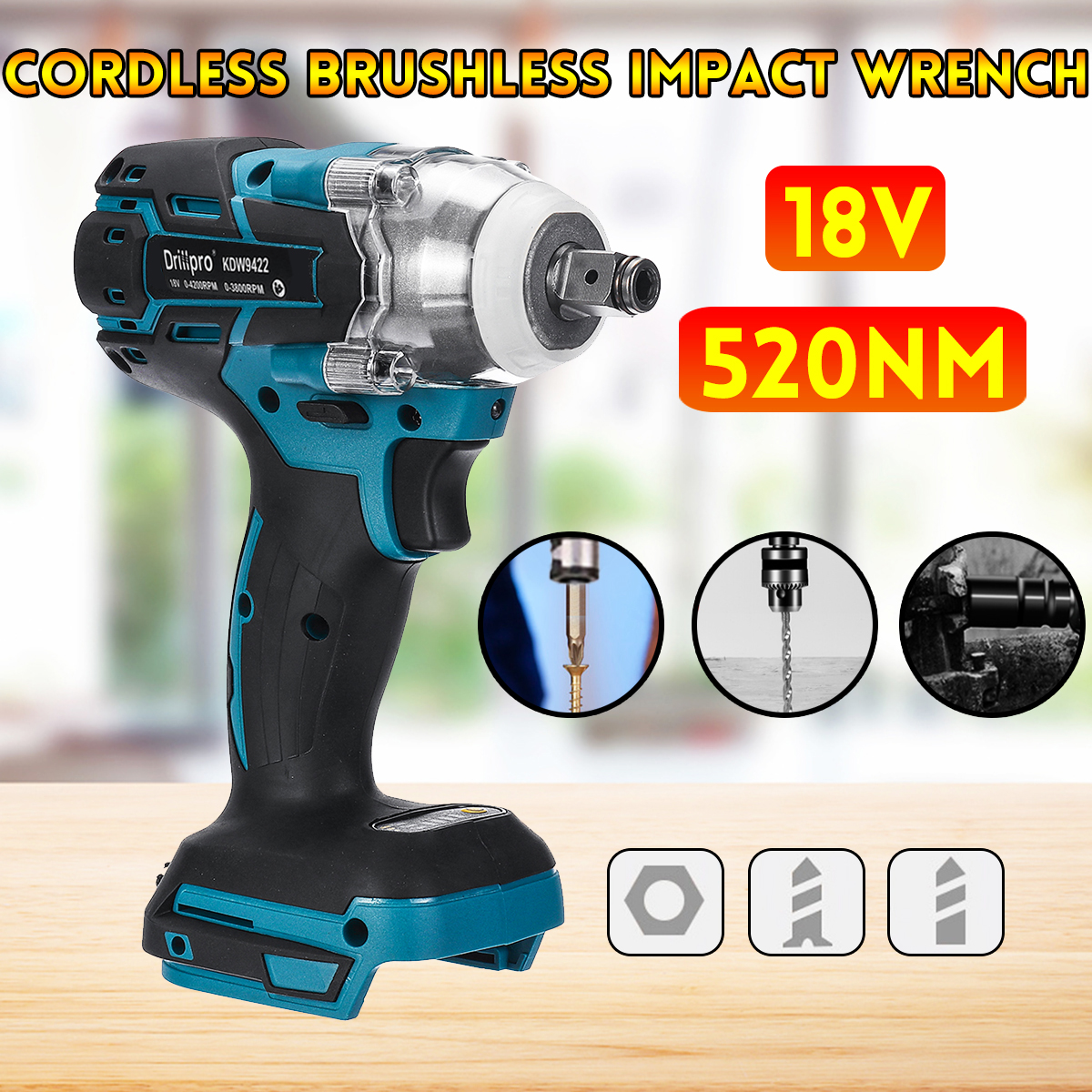Drillpro Brushless Cordless Electric Impact Wrench Rechargeable 1/2 inch Wrench Power Tools Compatible for Makita 18V Battery