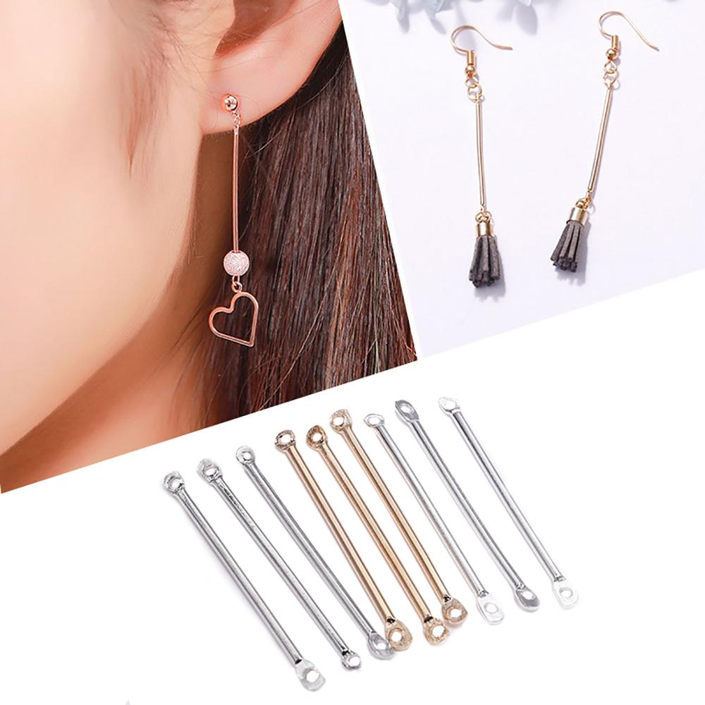 50pcs 15 20 25 35 40mm Gold Double Cylinder Bar Earrings Connecting For Jewelry Making Earring Pins Findings DIY Supplies(China)