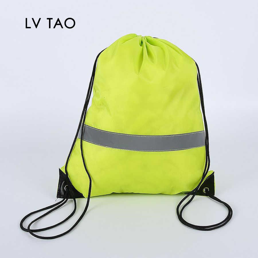 Mochila con cordón ajustable para la escuela, bolso con tira reflectante, a granel, saco con cincha, para Yoga, deporte, gimnasio, viaje, 20 Uds.