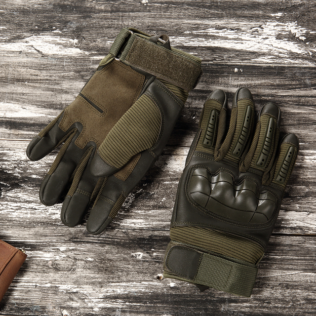 Full Finger Tactical Army Gloves Military Paintball Shooting Airsoft Bicycle Combat PU Leather Touch Screen Rubber Hard Knuckle 4