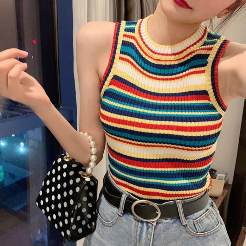 2019 Summer Casual Cotton Women Vest Sexy Sleeveless Round Neck Women Tank Top Rainbow Contrast Stripes Print Vest Female in Tank Tops from Women 39 s Clothing