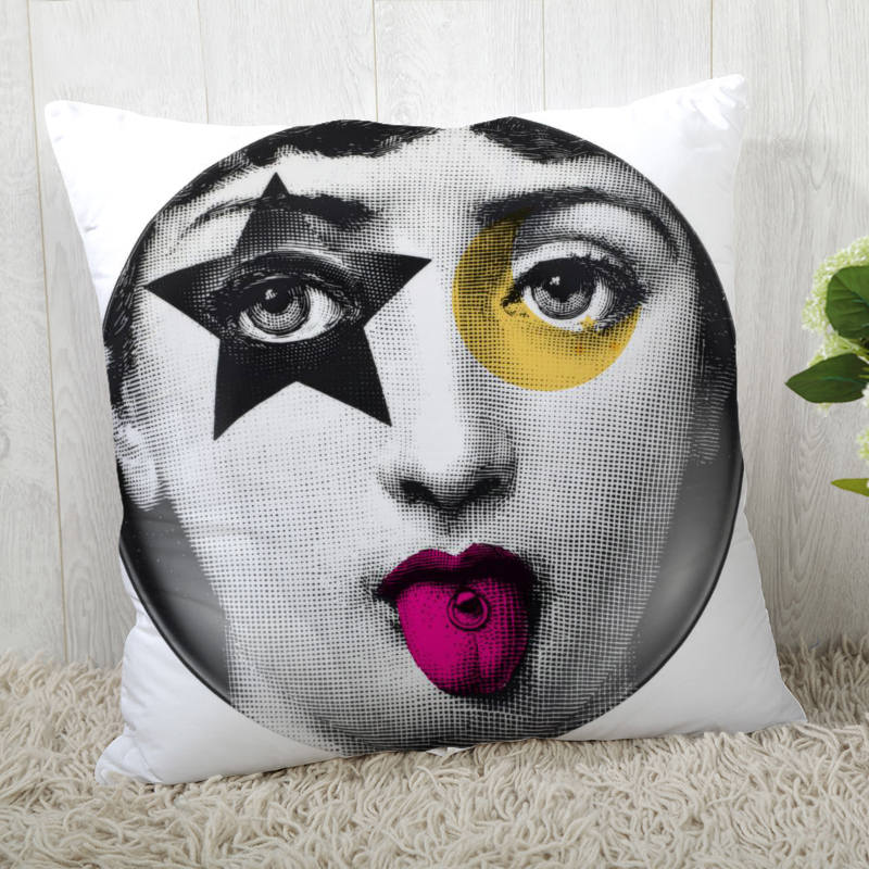 Custom Pillow Cases Italian Fornasetti Series Art Woman Face Square Pillowcase Zippered Pillow Cover 40*40cm,45*45cm(One Side)