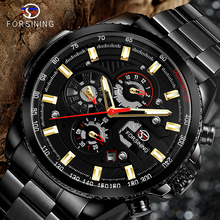 Forsining Three Dial Calendar Stainless Steel Men Mechanical Automatic Wrist