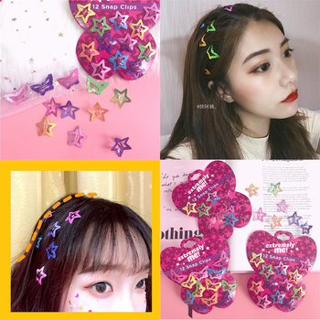 Hot 12PCS Mix Color Barrette Baby Hair Clip Cute Star Butterfly Shape Handmade Alloy Children Hairpin Girl Accessories