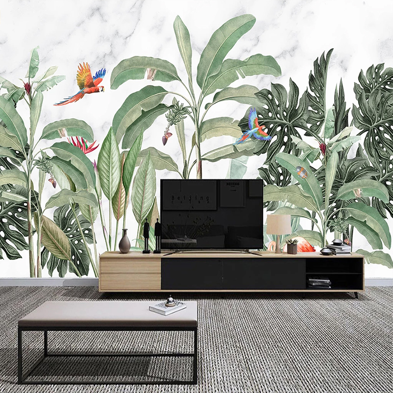 Custom Photo Waterproof Self-adhesive Mural Wallpaper 3D Tropical Rainforest Birds And Flowers Poster Wall Decals Living Room