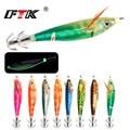 FTK 1 шт. рыболовная приманка Lure10g/8 см  свинцово-грузило  крючок для кальмара  светящийся джиг для кальмара  рыболовная деревянная приманка для...