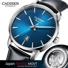 CADISEN automatyczne mechaniczne zegarki mężczyźni luksusowe japonia NH35A szafirowy zegarek Top marka Casual zegarek z paskiem skórzanym prosty zegarek 8173